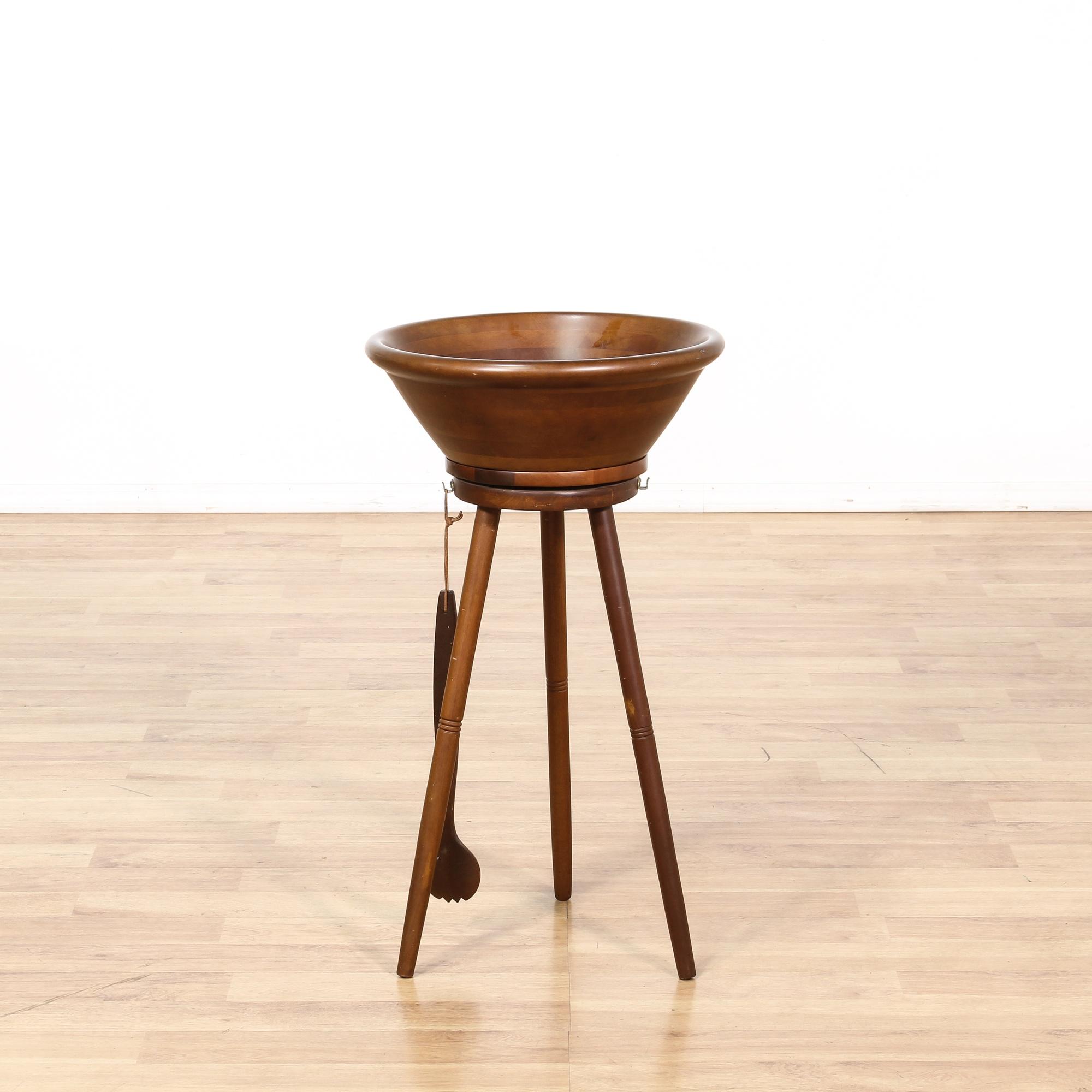 Mid Century Modern Wood Salad Bowl Tripod Stand Loveseat