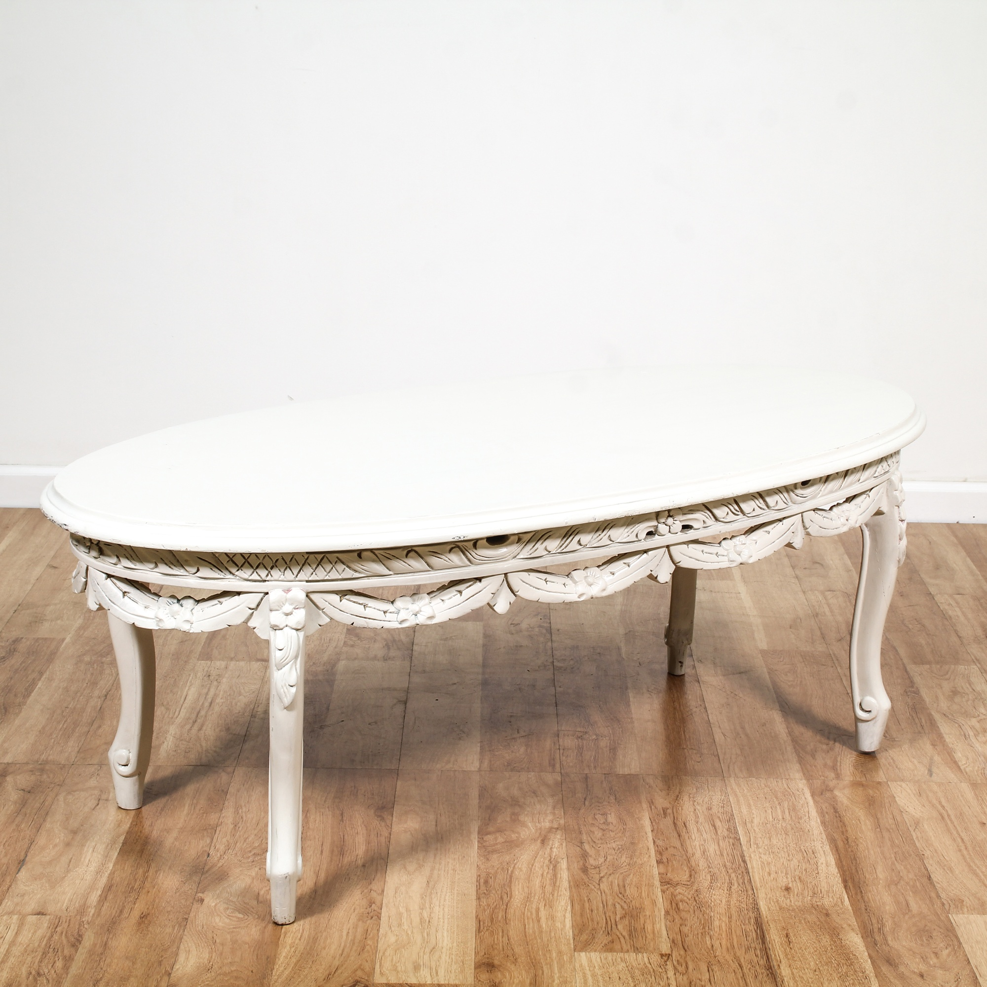 White Cottage Chic Oval Carved Coffee Table Loveseat Vintage Furniture San Diego Los Angeles