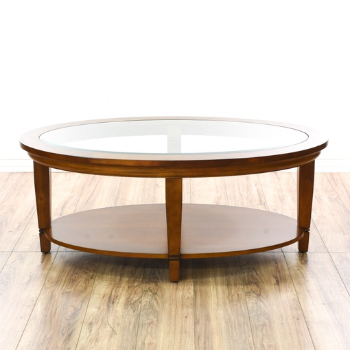Contemporary Tiered Oval Glass Top Coffee Table Loveseat Vintage Furniture San Diego Los Angeles