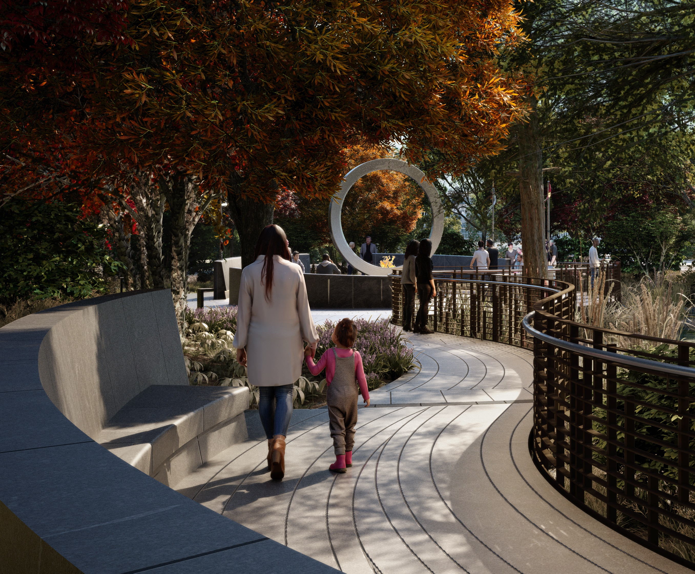 Image of National Native American Veterans Memorial rendering, view from entrace pathway.