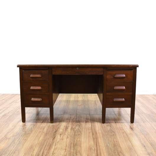 """""""Standard"""" Large Wood 7 Drawer Tanker Desk"""