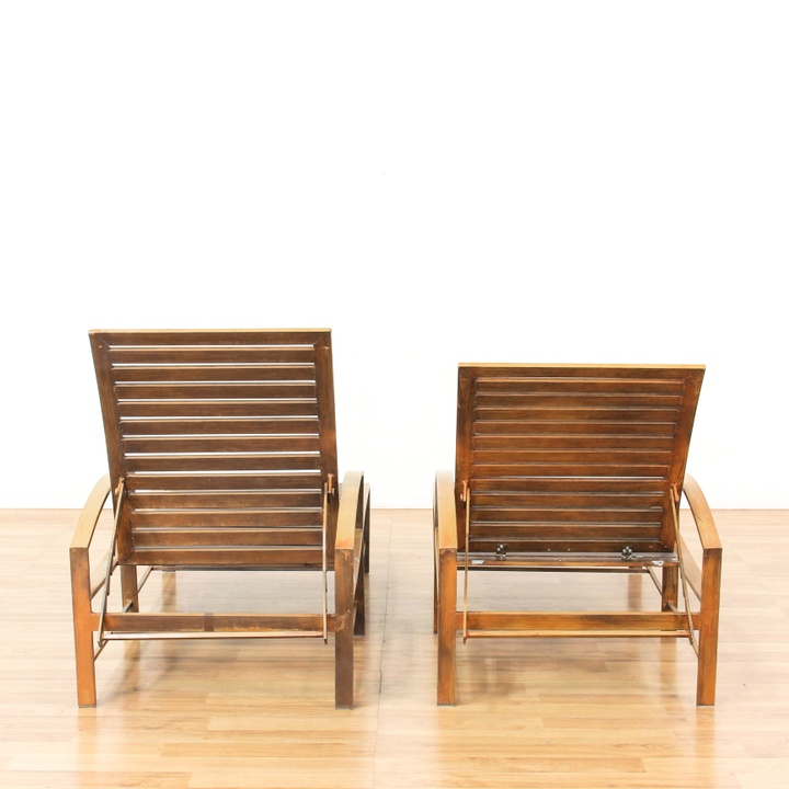 Patio Chairs Los Angeles: Pair Of Metal Frame Patio Chaise Lounge Chairs