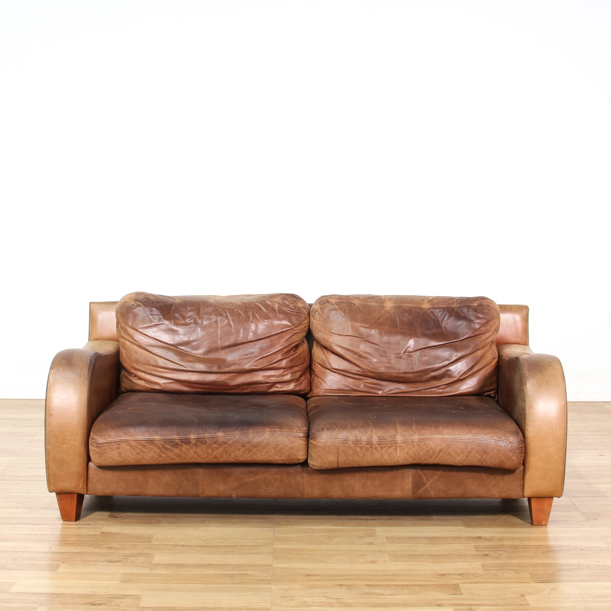 Leather Sofas In Los Angeles: Brown Leather Sofa W/ Curved Arms