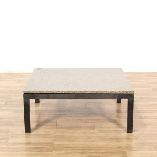 Contemporary Metal Base Marble Top Coffee Table