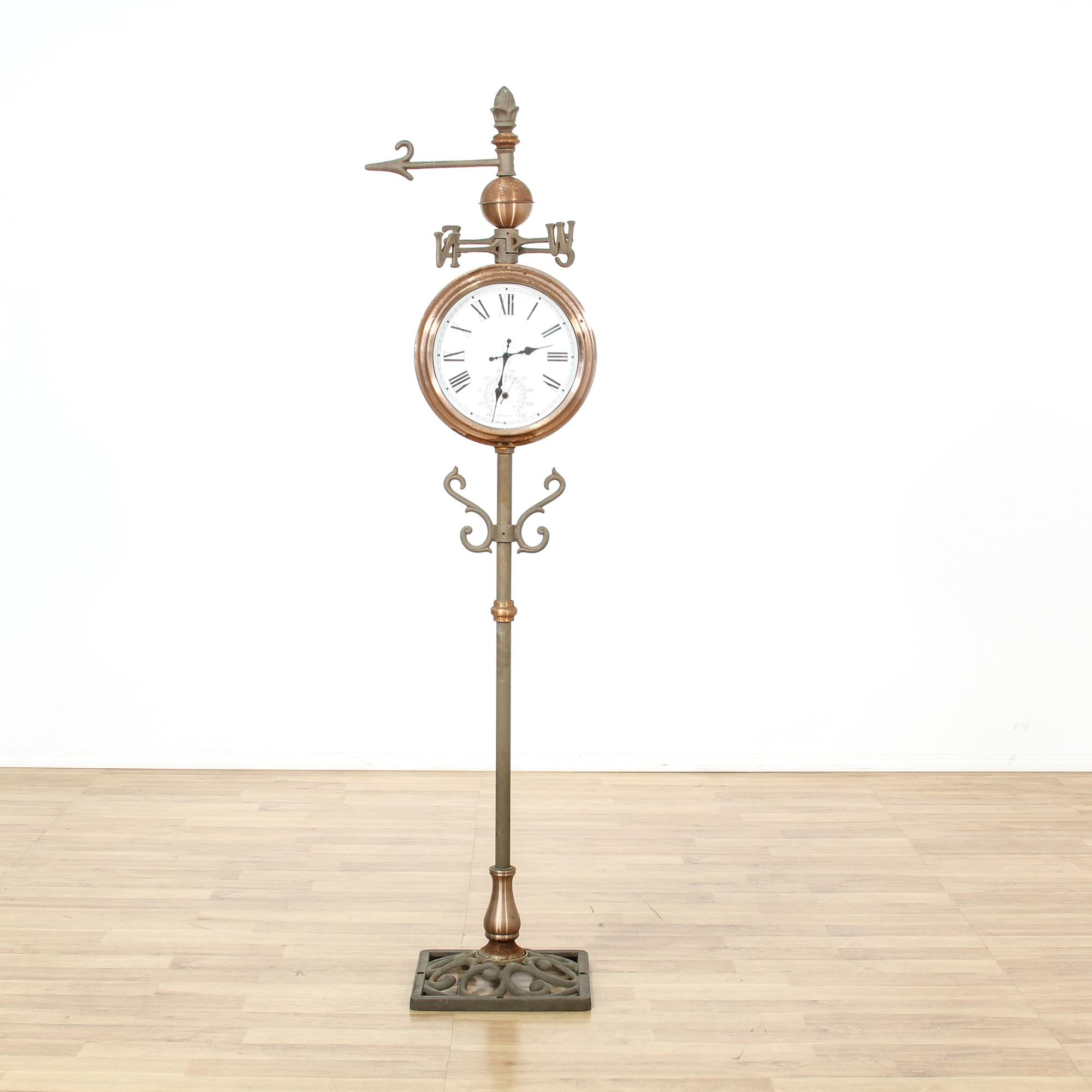 Copper Amp Brass Weathervane Clock Stand Loveseat Vintage