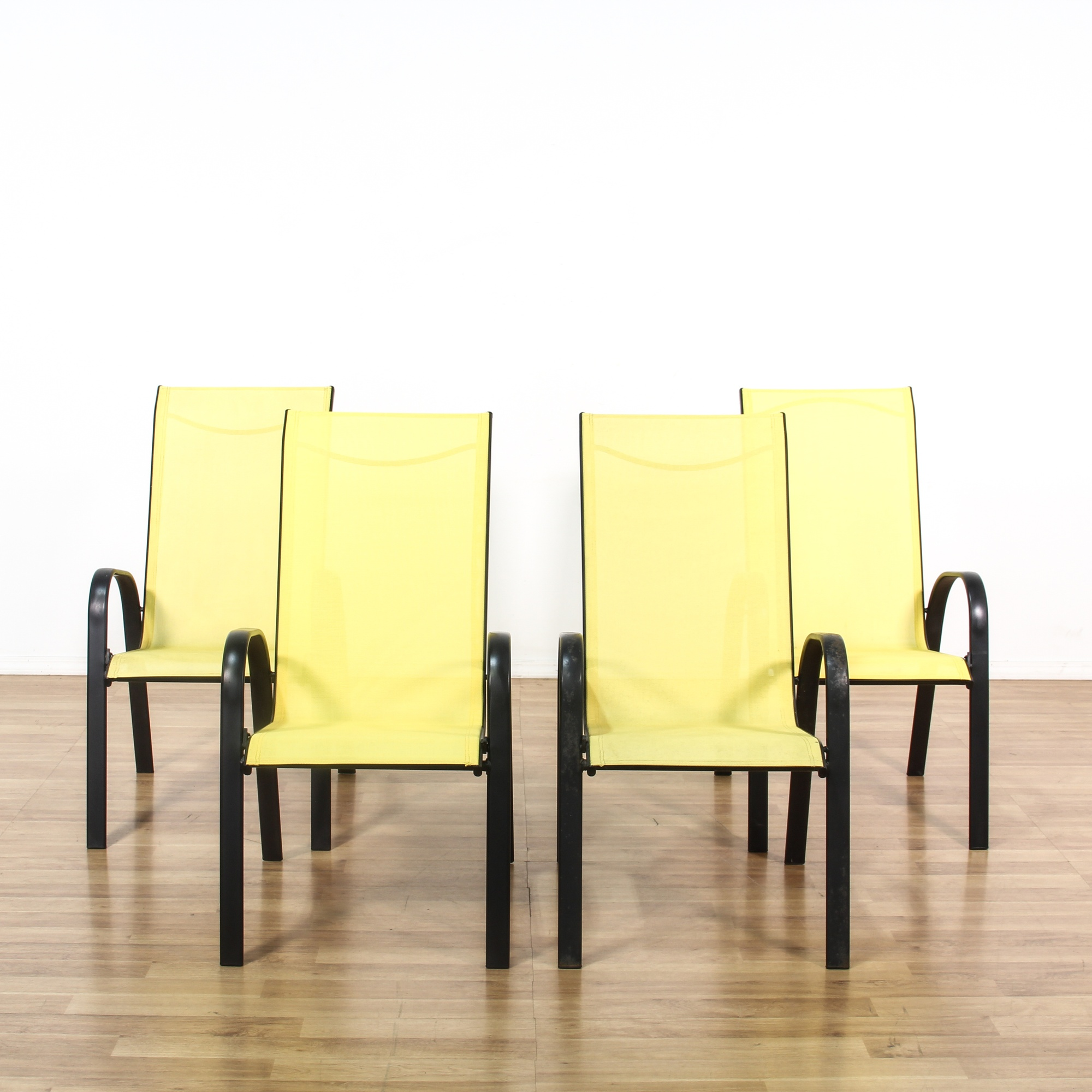 Set Of 4 Black Amp Yellow Metal Outdoor Patio Chairs