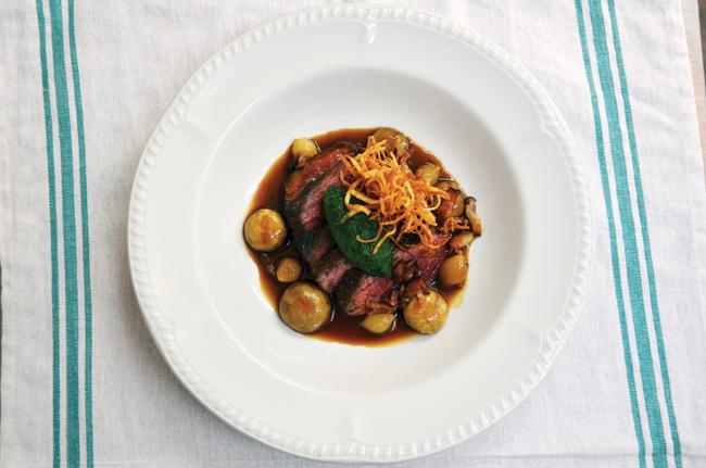 Rare roast onglet, bourguignon garnishes
