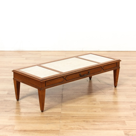 Travertine Insert Mid Century Coffee Table Loveseat Vintage Furniture Los Angeles