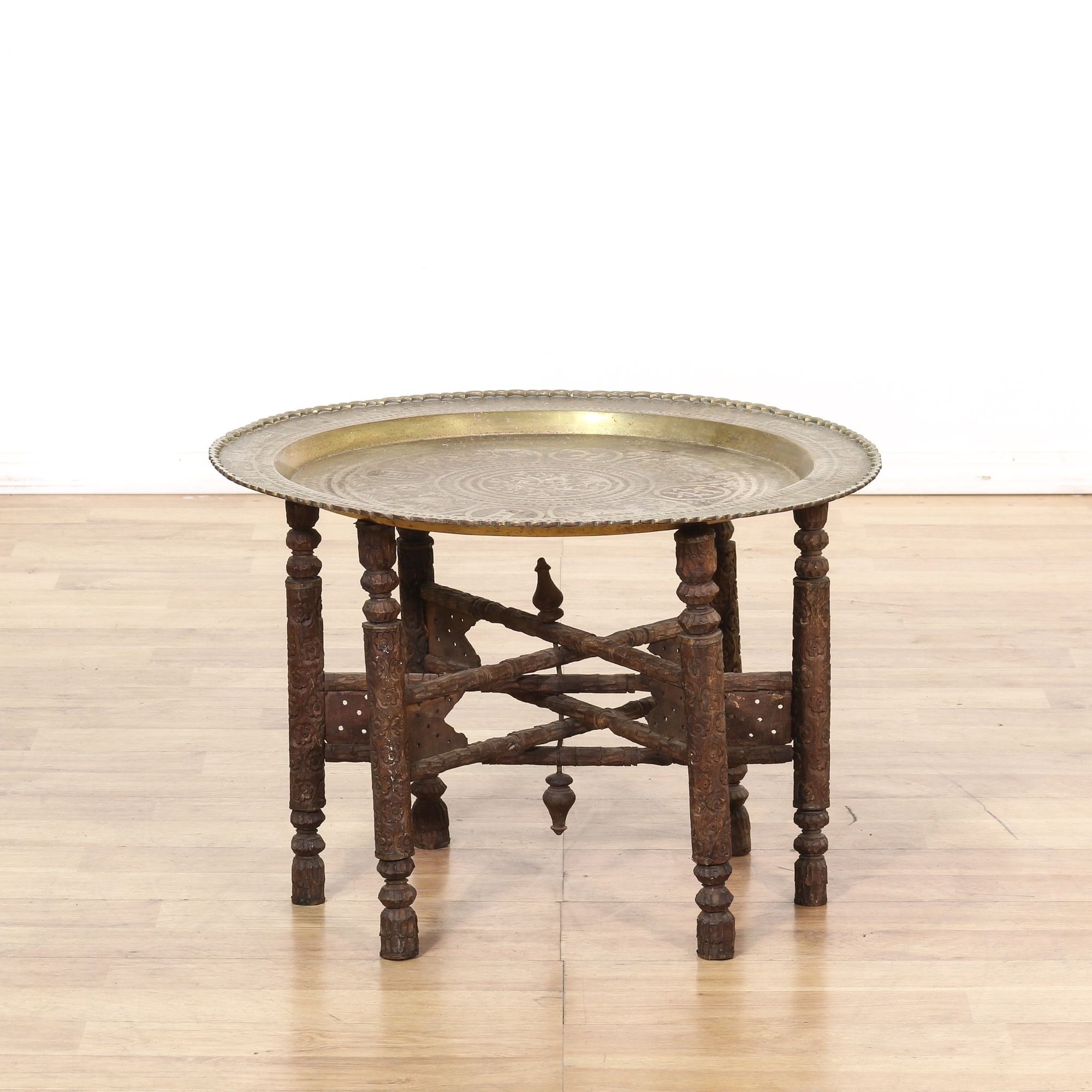Bohemian carved wood brass tray end table loveseat