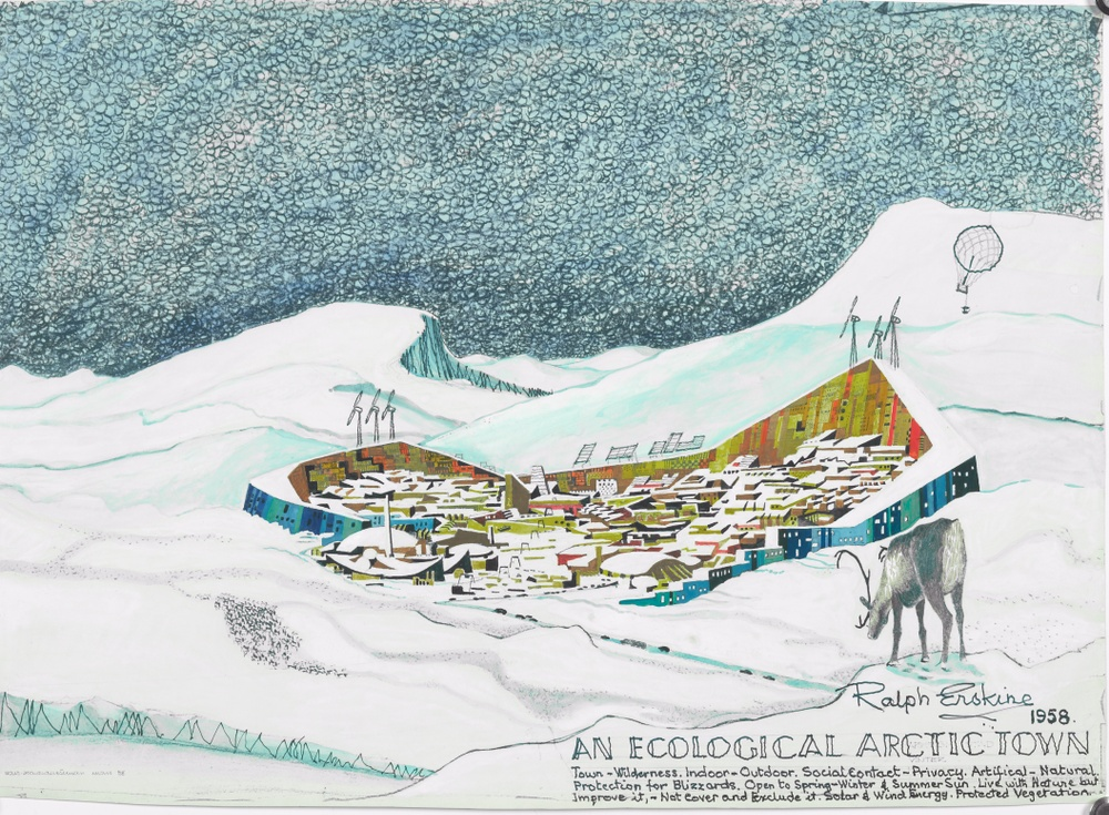 Ralph Erskine, architect Lars Harald Westman, illustrator An Ecological Arctic Town, 1958 Gouache and pencil on print ArkDes Collections