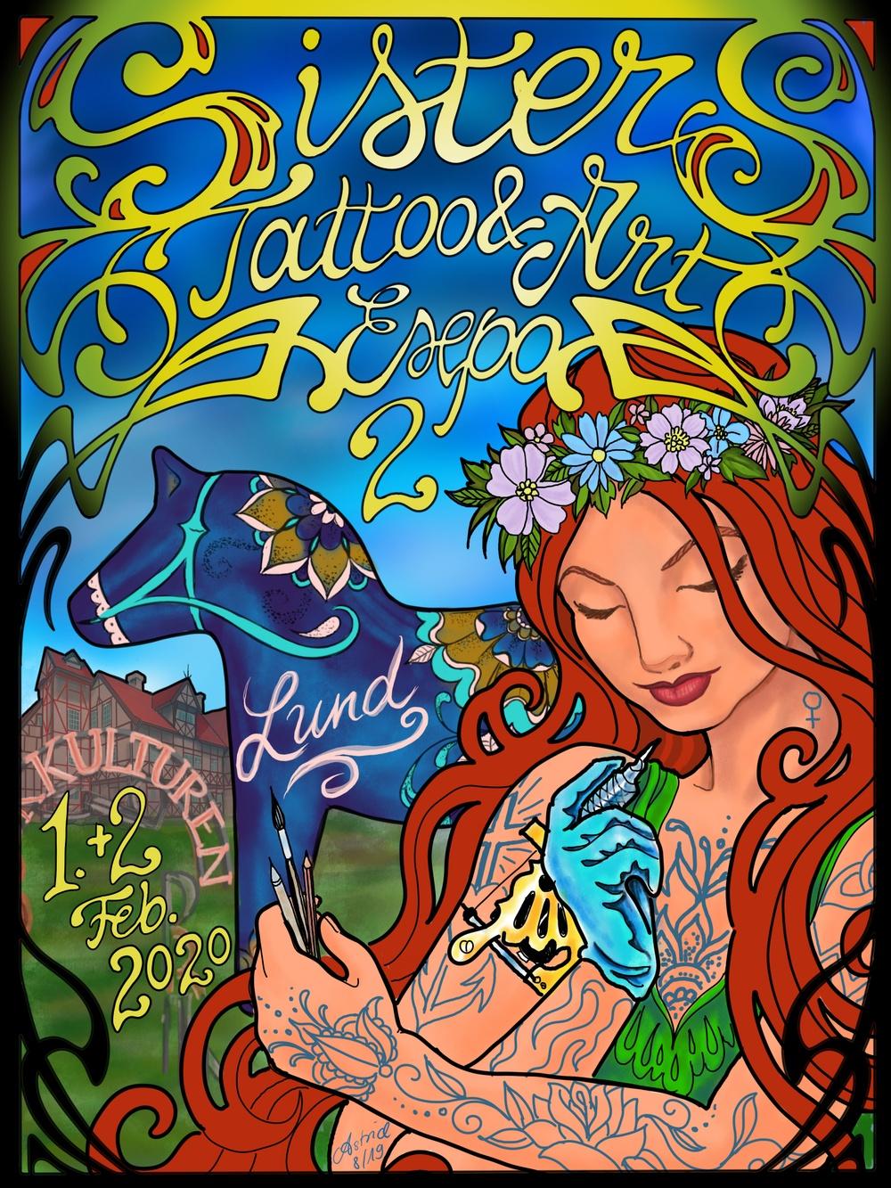 Poster för Sisters Tattoo & Art Expo 2020.  Illustration: Astrid Zschorsch, tatuerare från Frankfurt.