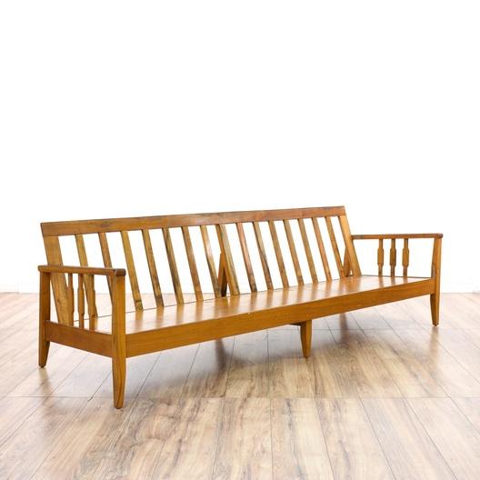 Mid Century Modern Koa Wood Frame Sofa Loveseat Vintage