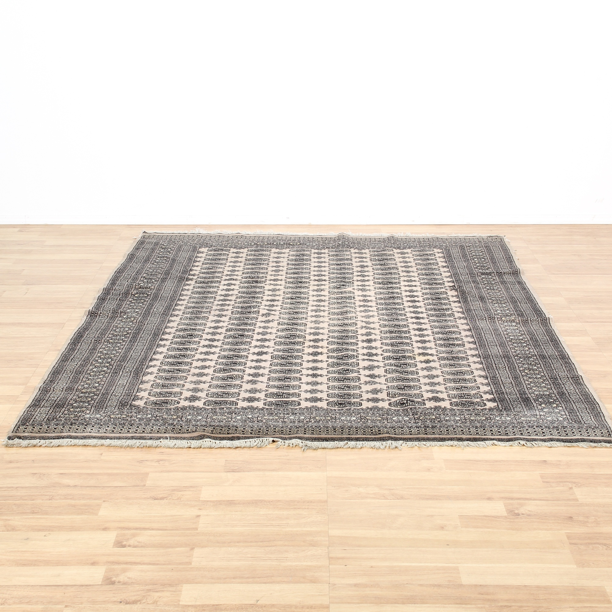 Large Hand Tied Taupe & Brown Area Rug