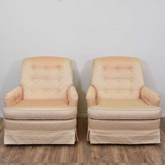 Pair of Pink Tufted Down-Filled Armchairs