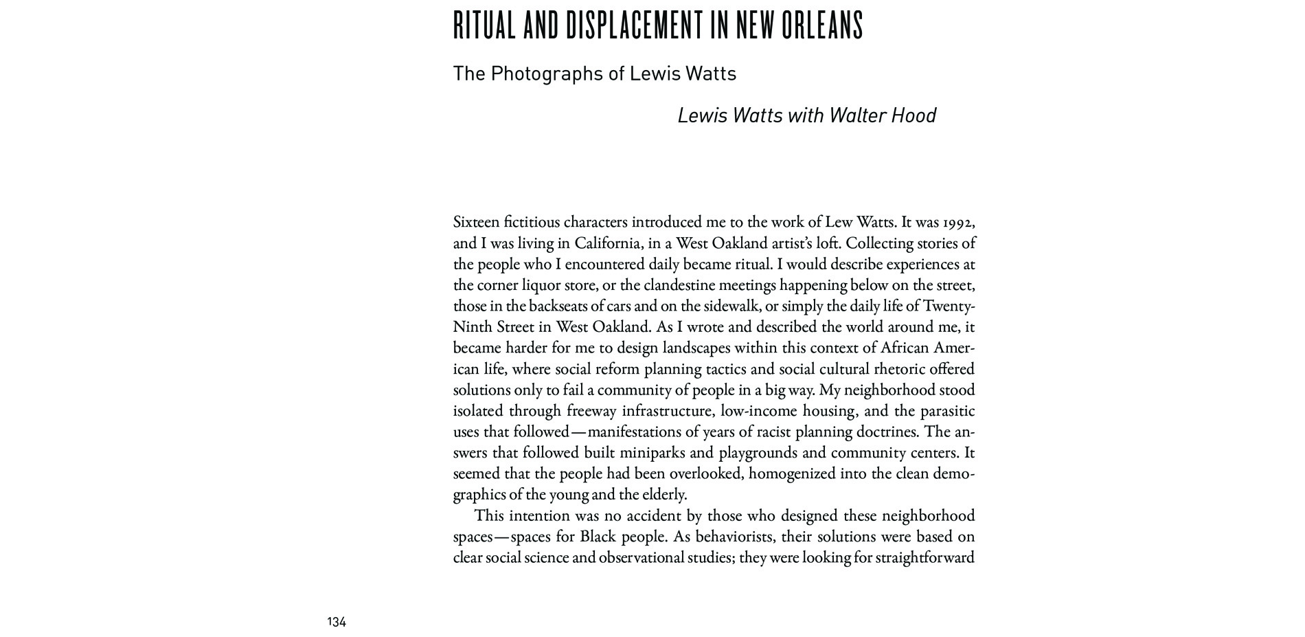 Black Landscapes Matter, Ritual and Displacement in New Orleans: The Photographs of Lewis Watts (pg. 134)