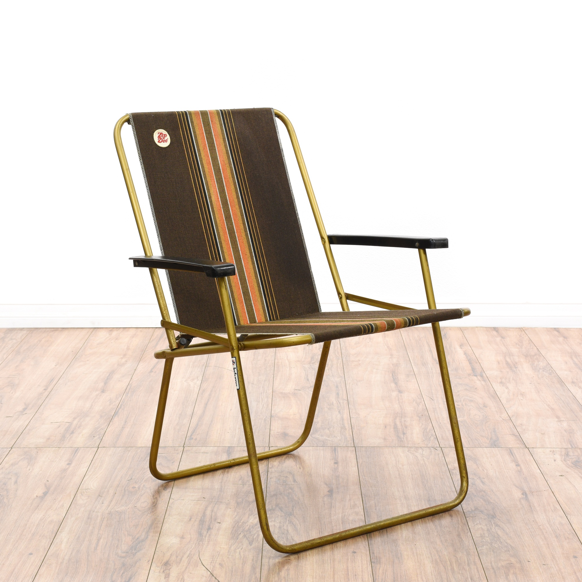 Pair Of 1950s Aluminum Folding Beach Chairs Loveseat