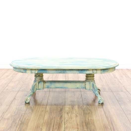 Shabby Chic Claw Foot Oval Coffee Table