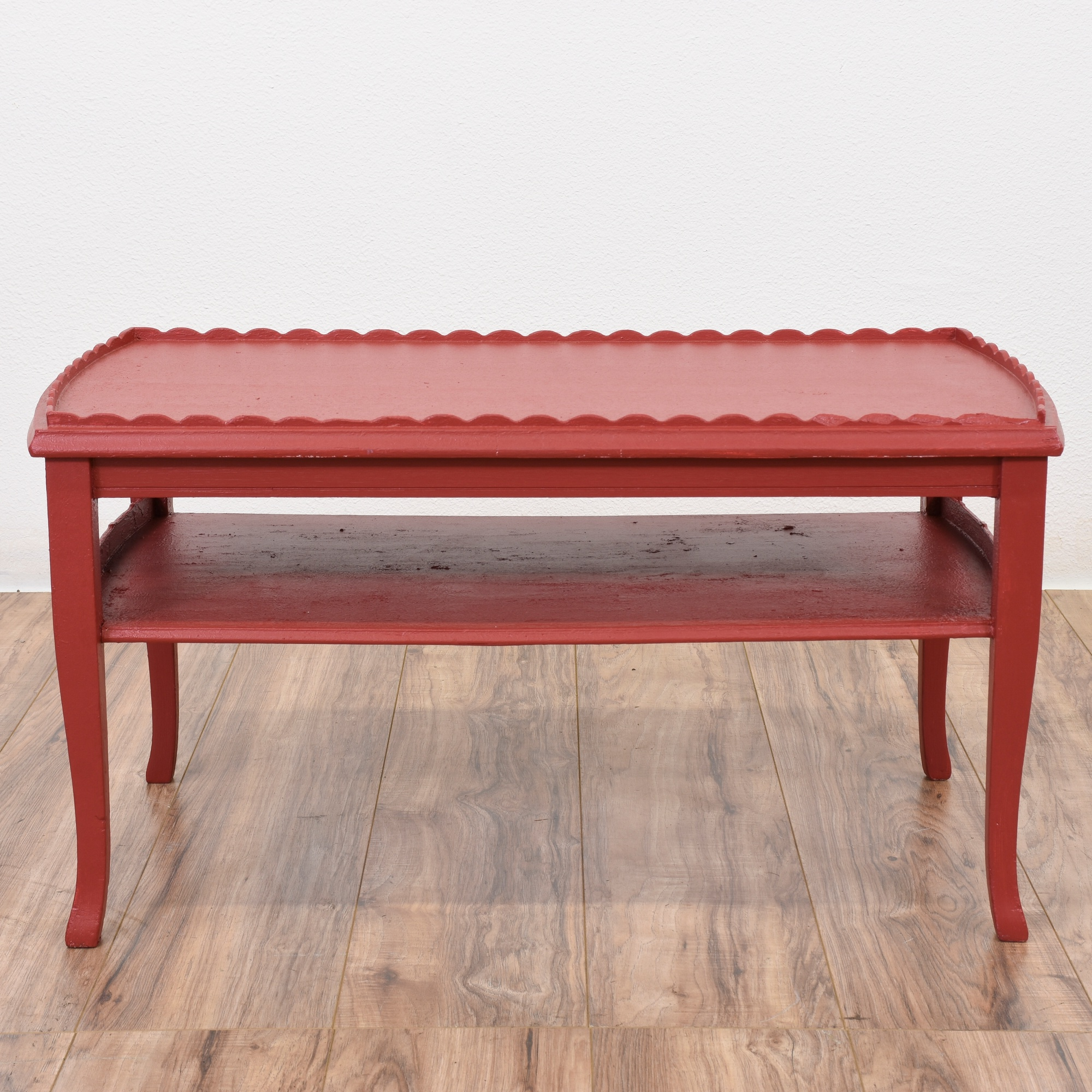 Shabby Chic Red 2 Tiered Coffee Table Loveseat Vintage Furniture San Diego Los Angeles