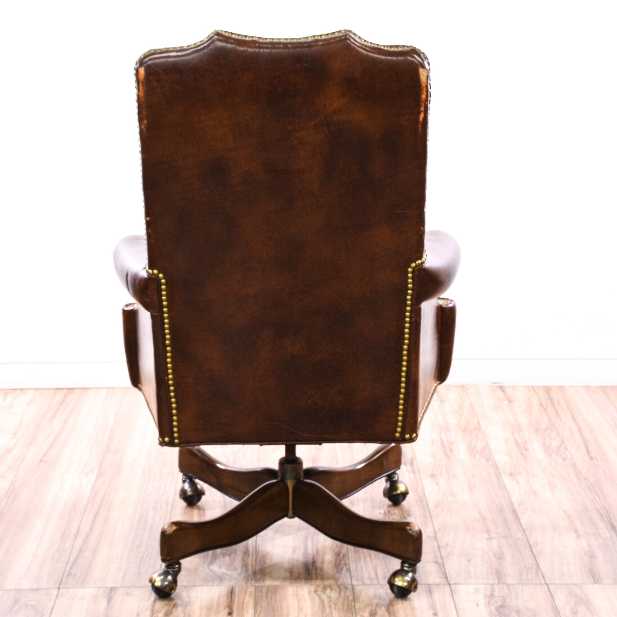 Tufted brown leather studded executive chair loveseat for Brown leather couch with studs