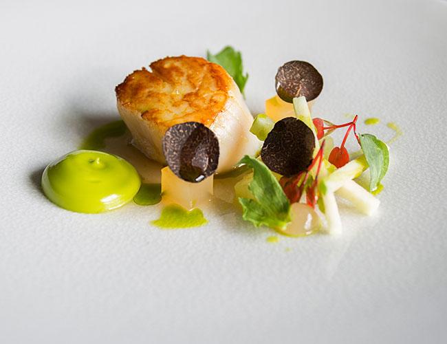 Scallop, apple, lovage, truffle on Jars Neige round plate