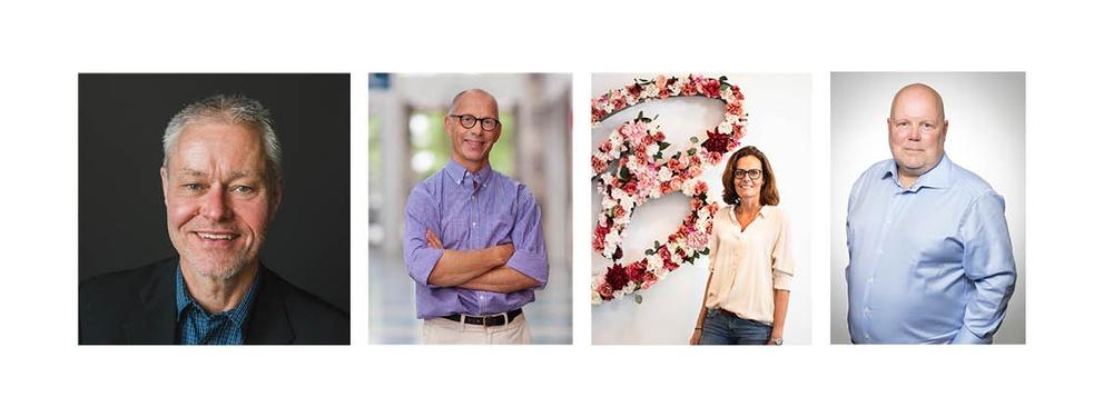 Sting Bioeconomys nya styrelse. Från vänstster; Håkan Spjuth, Pär Hedberg, Charlotta Stenson och Erik Stenberg.