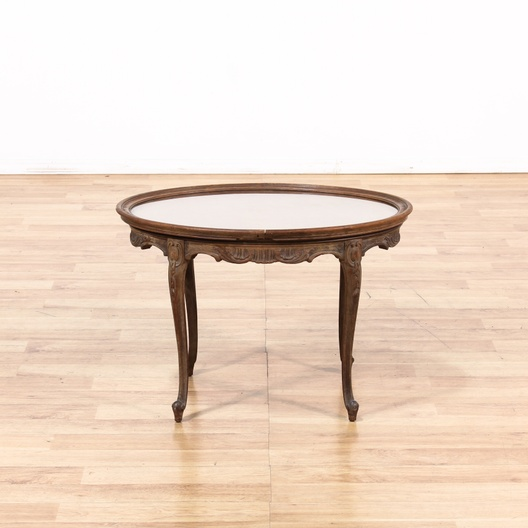 French Provincial Oval End Table W Glass Insert