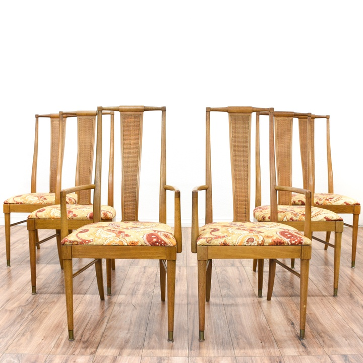 Set Of 6 Mid Century Modern Woven Dining Chairs