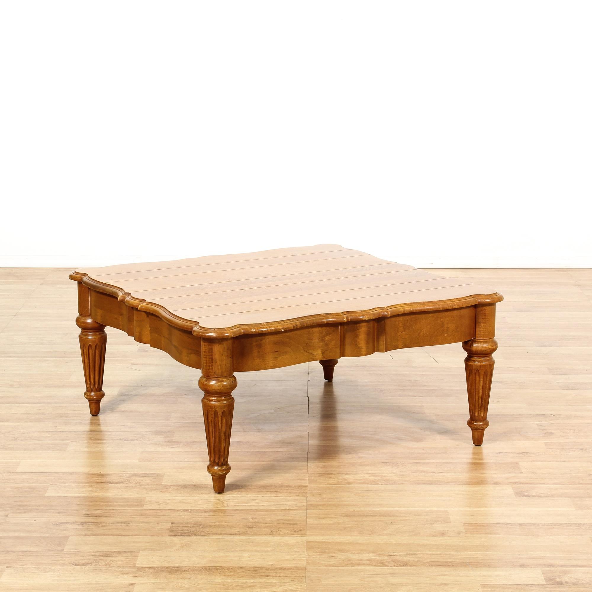 Reclaimed Wood Mid Century Coffee Table: Mid Century Scalloped Edge Wood Slat Coffee Table