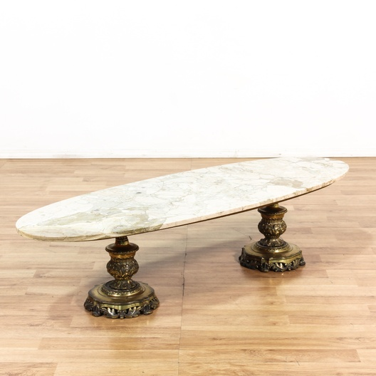 Gold Coffee Table With Stone Top: Double Gold Pedestal Marble Top Coffee Table