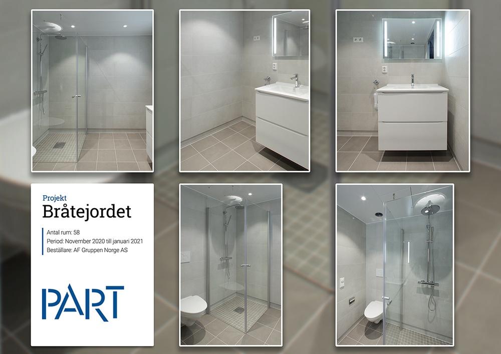 1 av 58 badrum till projektet Bråtejordet för AF Gruppen Norge AS