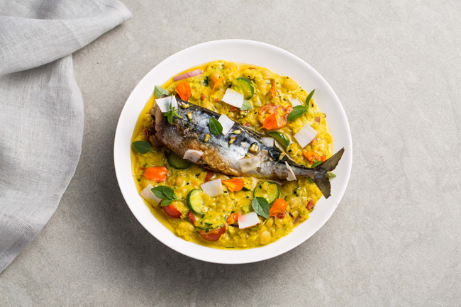 Lentil dahl, baby courgette, tomato and sorrel with grilled mackerel