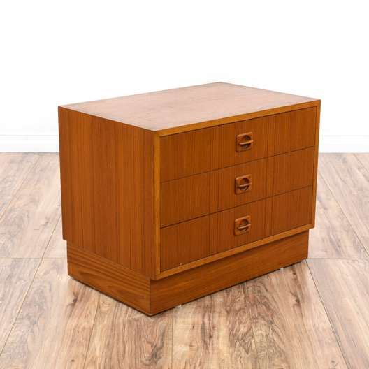Danish Modern Teak End Table Chest of Drawers