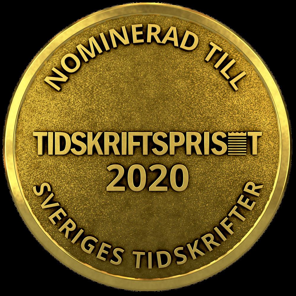 Medalj för nominerade i Tidskriftspriset.