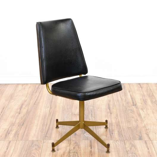 Mid Century Modern Black Vinyl Chair