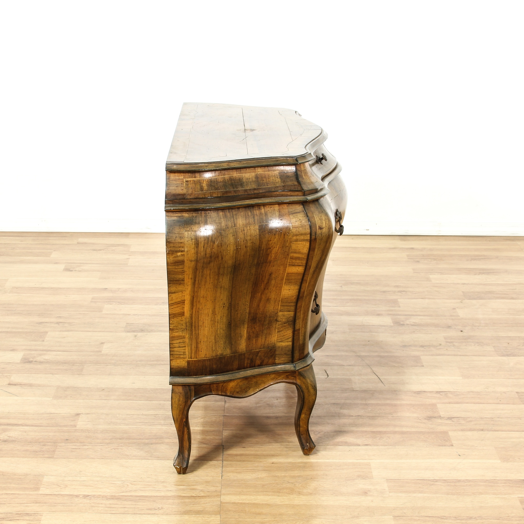 Italian Walnut Bombe Commode