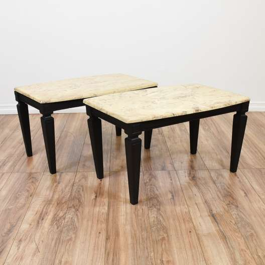 Pair of Mid Century Modern Marble Top End Tables