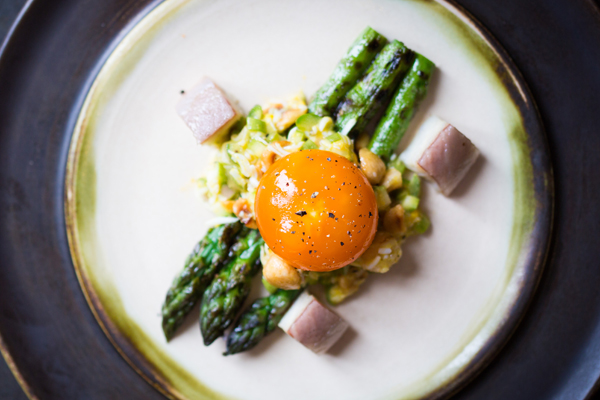 Wye Valley asparagus, cured pickled egg, smoked eel and dukka