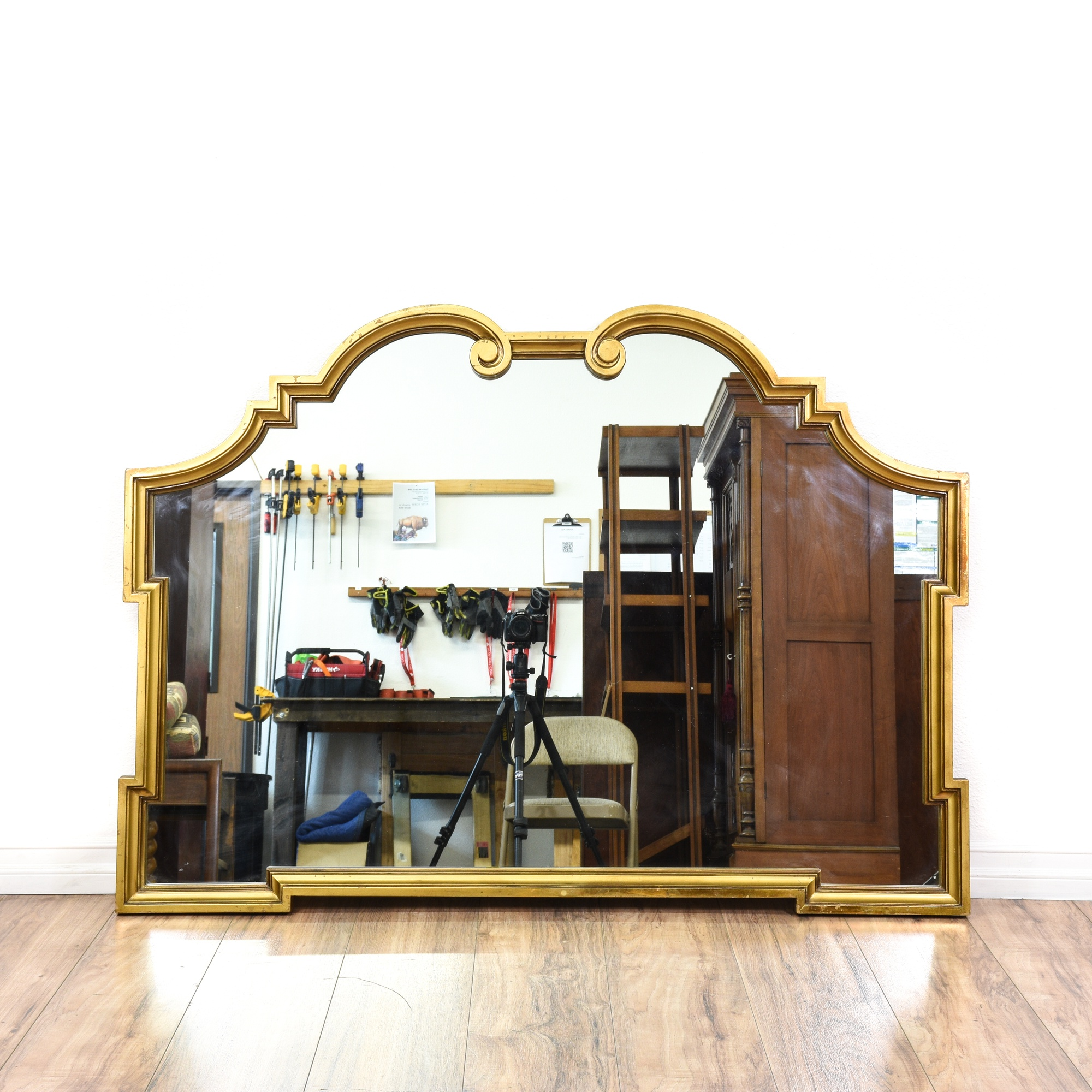 Curved gold framed mirror loveseat vintage furniture san for G furniture los angeles