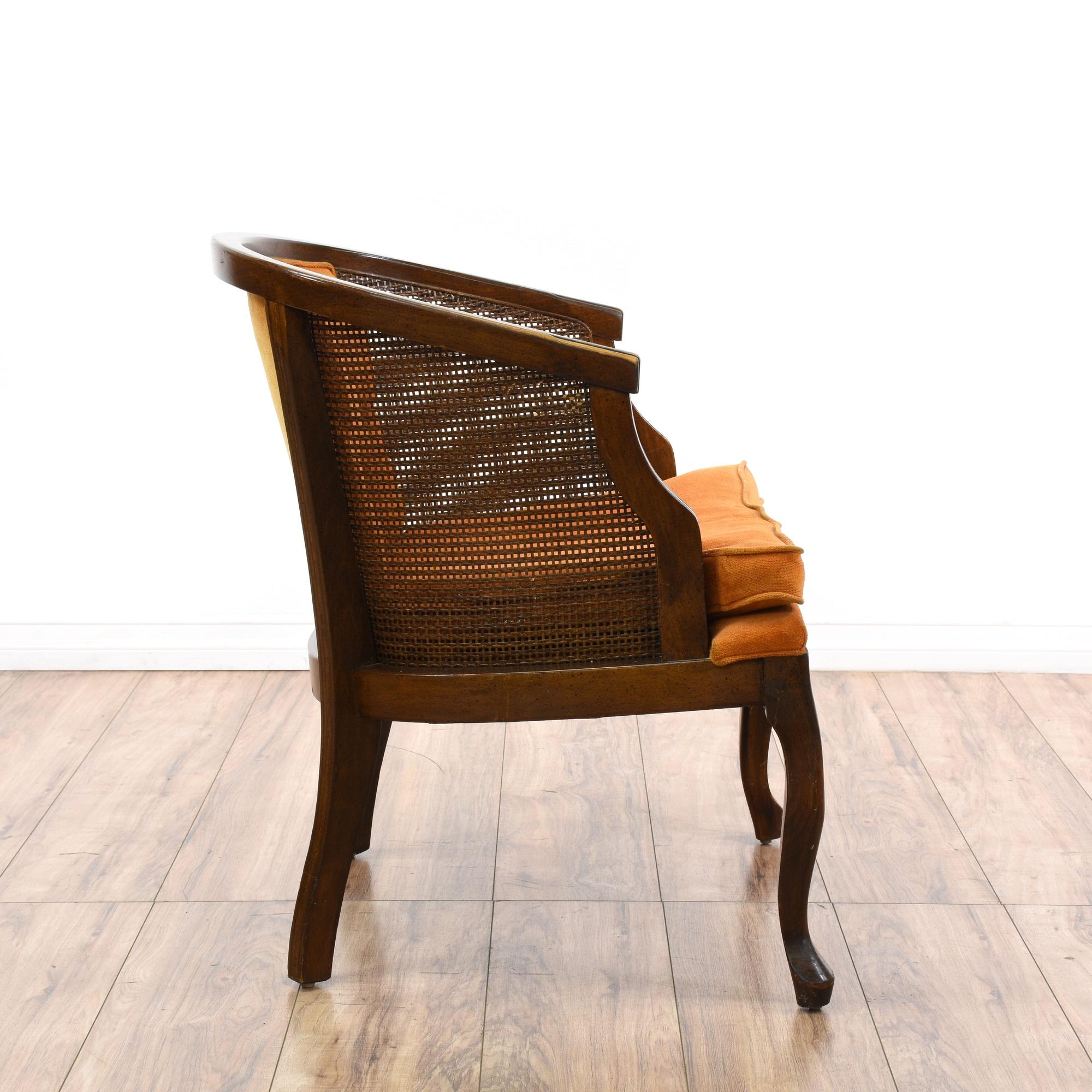 Burnt orange tufted cane barrel back accent chair for Burnt orange accent chair