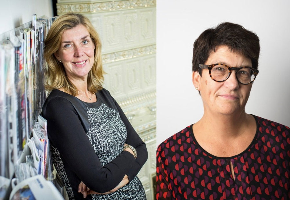 Kerstin Neld, vd Sveriges Tidskrifter och Helle Klein, ordförande i Sveriges Tidskrifter samt vd och chefredaktör för Dagens Arbete.
