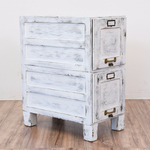 White Shabby Chic File Cabinet