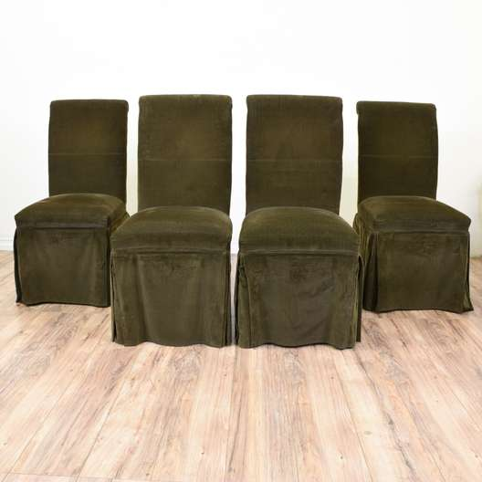 Set of 4 Brown Corduroy Upholstered Dining Chairs