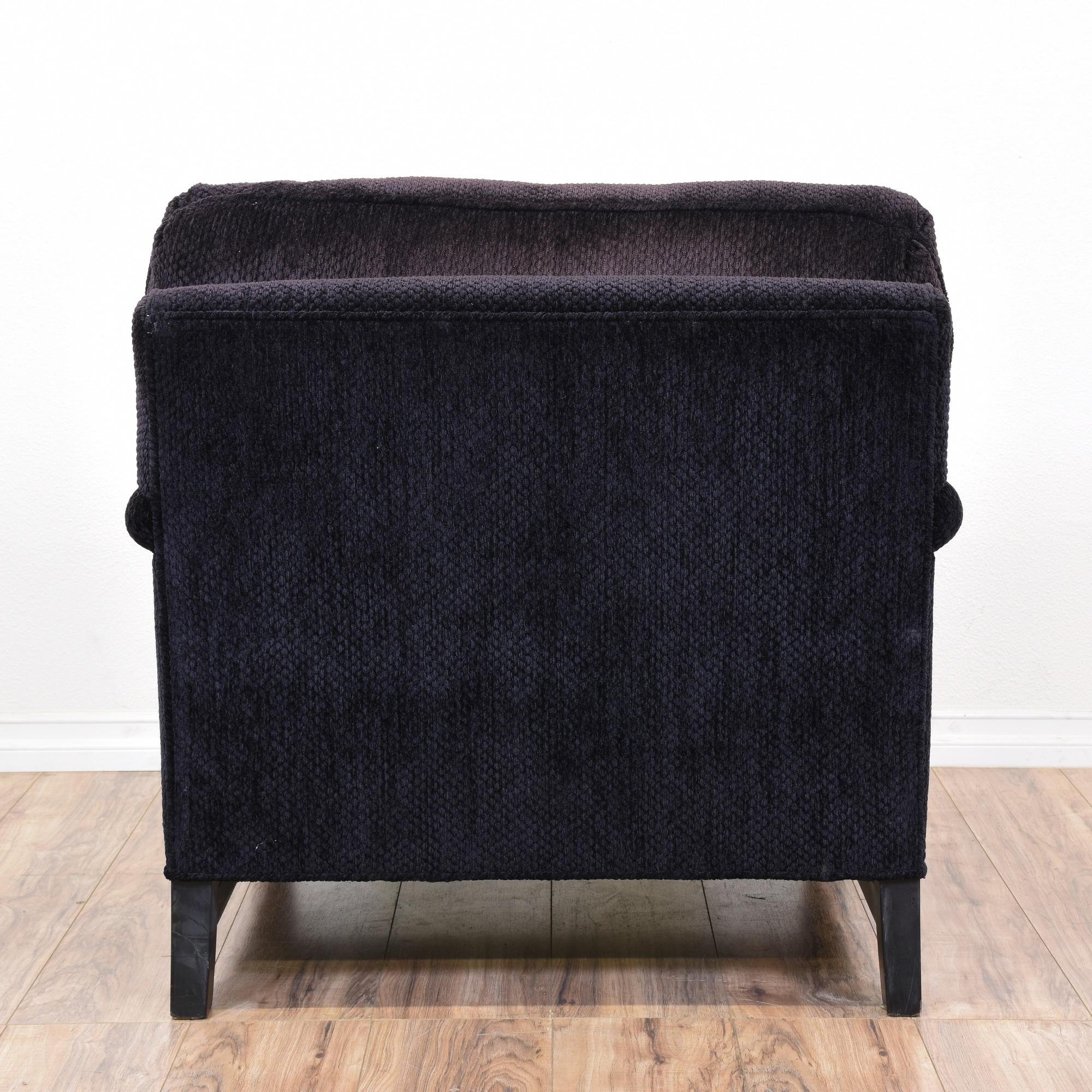 Dark Purple Upholstered Armchair & Ottoman