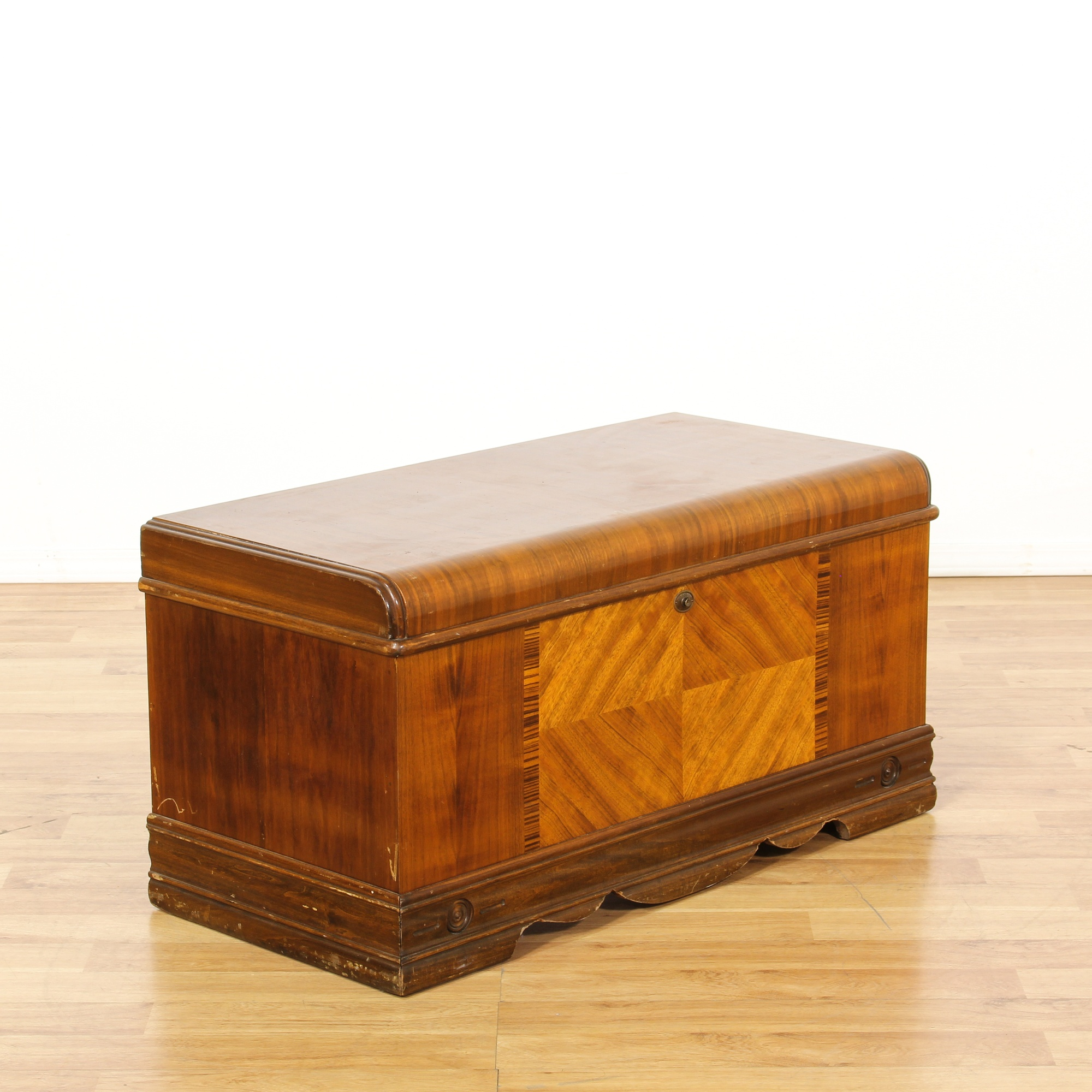 Art Deco Marquetry Waterfall Chest Loveseat Vintage Furniture San Diego Los Angeles