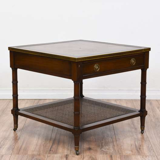"""Hekman"" Cherry Neoclassical End Table w/ Caning"