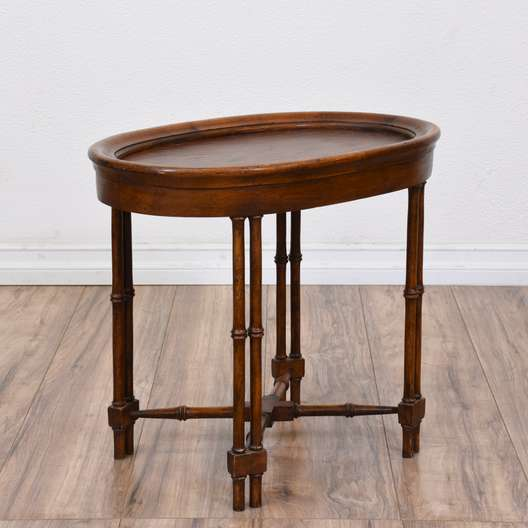 Small Carved Cherry Oval End Table