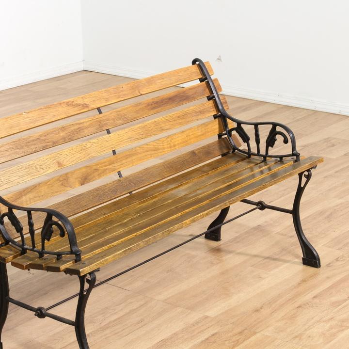 Slat Wood & Painted Metal Base Garden Bench