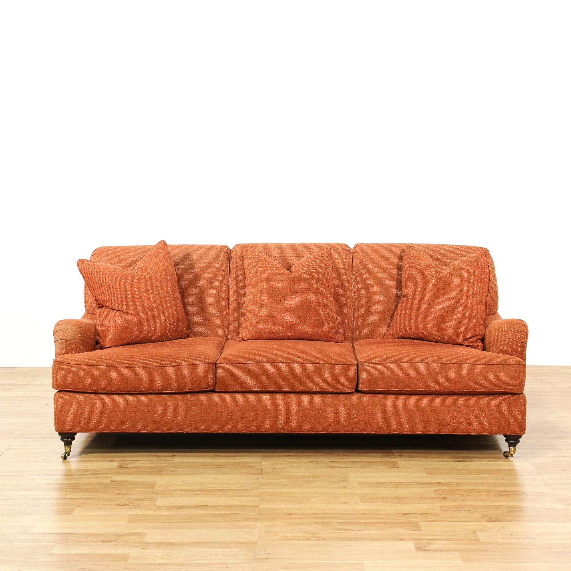Henredon Orange Coral Sofa On Casters Loveseat Vintage Furniture San Diego Los Angeles