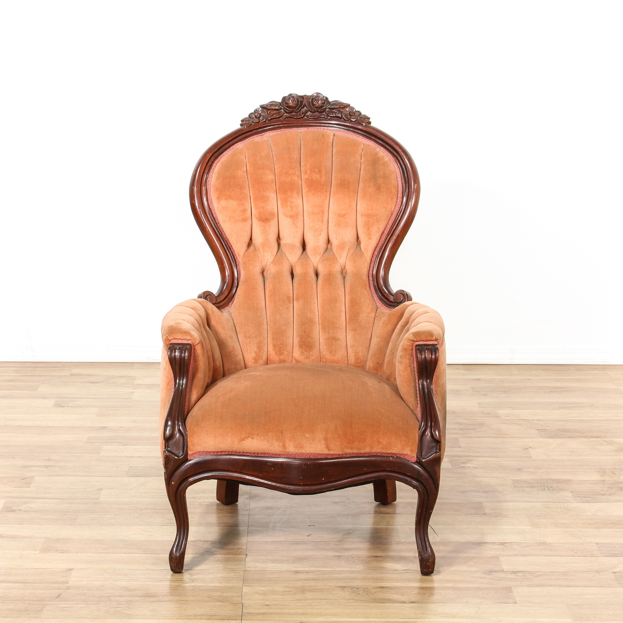 Highly carved upholstered victorian armchair loveseat for Victorian furniture los angeles