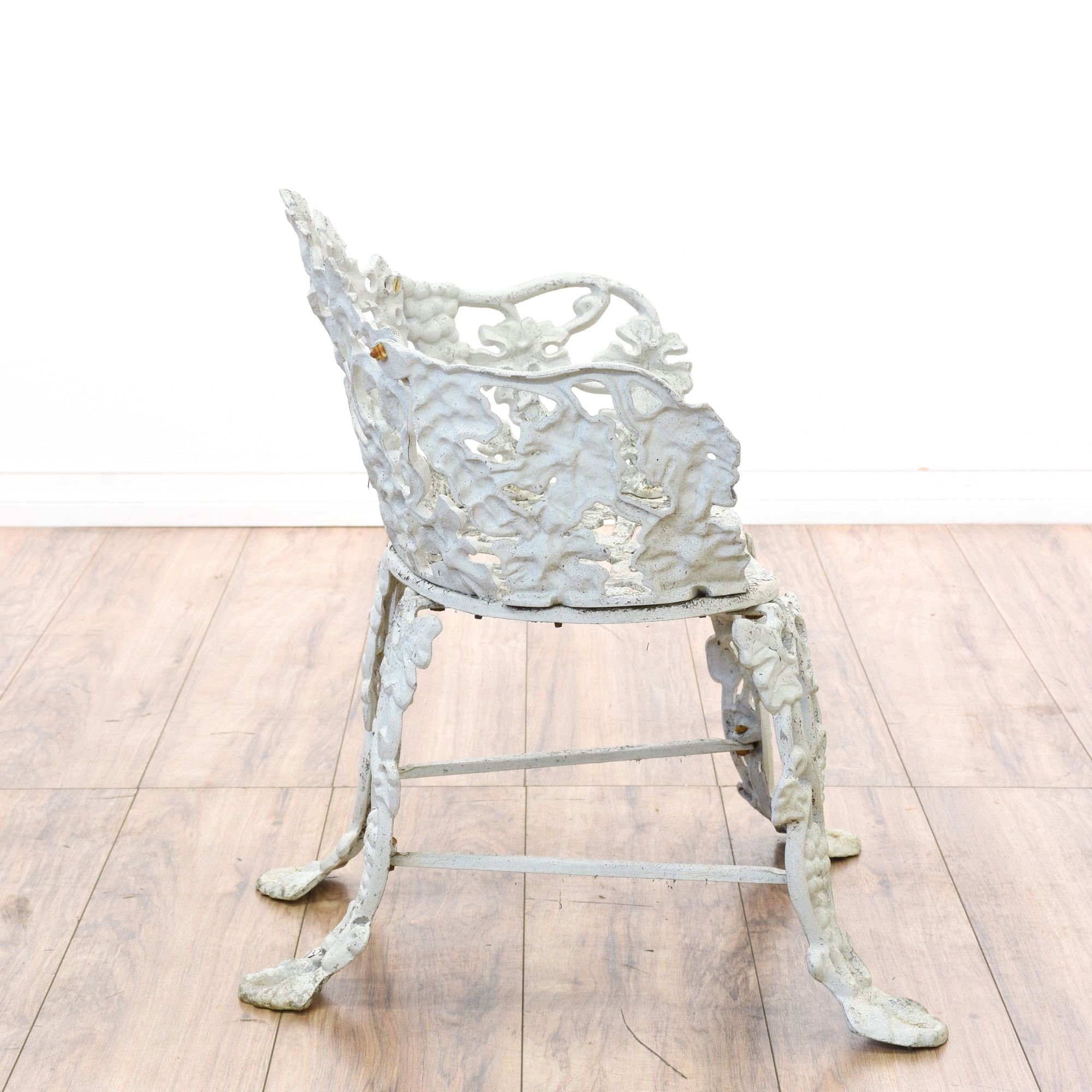 White wrought iron floral patio chair table loveseat for White wrought iron furniture
